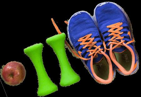 Apfel Schuhe Hanteln